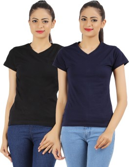 Ap'pulse Solid Women's V-neck Black, Dark Blue T-Shirt Pack Of 2