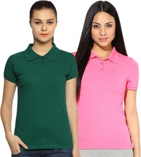 Go India Store Solid Women's Polo Neck Dark Green, Pink T-Shirt Pack Of 2