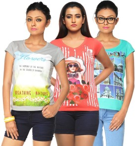 Jazzup Printed Women's Round Neck T-Shirt Pack Of 3 - TSHE8ESJFC49HBNY