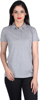 Vivid Bharti Cotton Sinker Gray Polo Solid Women's Flap Collar Neck T-Shirt