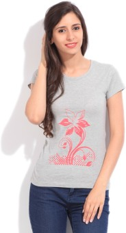 STYLE QUOTIENT BY NOI Printed Women's Round Neck Grey T-Shirt
