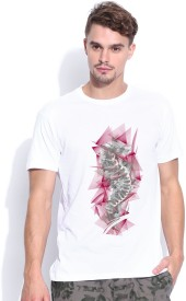 Artywear Graphic Print Men's Round Neck White T-Shirt