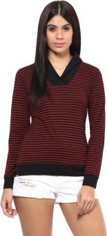 Hypernation Striped Women's Draped Neck Black, Red T-Shirt