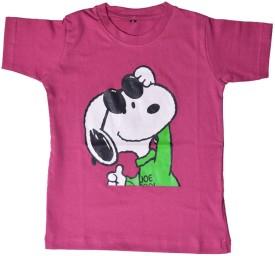 British Terminal Animal Print Boy's Round Neck Pink T-Shirt