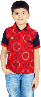 Naughty Ninos Printed Boy's Polo Neck Red T-Shirt