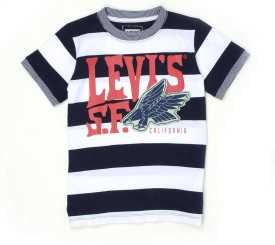 Levis Kids Striped, Graphic Print Boy's Round Neck Black, White T-Shirt