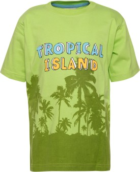 Joshua Tree Printed Boy's Round Neck Green T-Shirt
