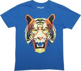Flying Machine Graphic Print Boy's Round Neck Blue T-Shirt