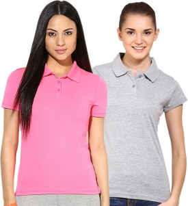 Go India Store Solid Women's Polo Neck Grey, Pink T-Shirt Pack Of 2