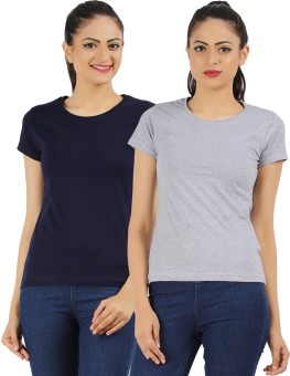 Ap'pulse Solid Women's Round Neck Dark Blue, Grey T-Shirt Pack Of 2