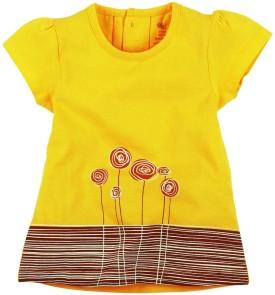 Oye Printed Girl's Round Neck Yellow T-Shirt