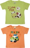 Purple Graphic Print Baby Boy's Round Neck Light Green, Orange T-Shirt (Pack Of 2)