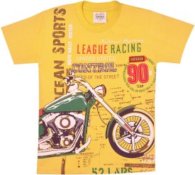 Tonyboy Printed Boy's Round Neck Yellow T-Shirt