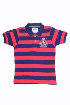 SEABOARD Striped Boy's Polo Neck Blue, Red T-Shirt