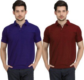 KRAZY KATZ Solid Men's Polo Neck Blue, Maroon T-Shirt Pack Of 2