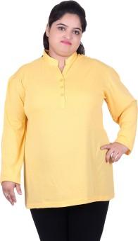 Vivid Bharti Solid Women's Mandarin Collar T-Shirt
