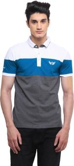 BRAVEZI Solid, Striped, Self Design Men's, Boy's Polo Neck White, Green, Grey T-Shirt