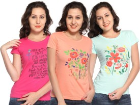 Maatra Printed Women's Round Neck Pink, Orange, Blue T-Shirt Pack Of 3