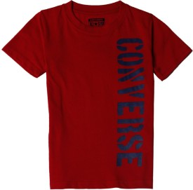 Converse Graphic Print Boy's Round Neck Red T-Shirt