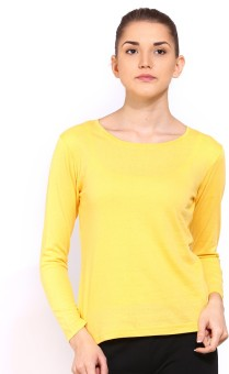 Ap'pulse Solid Women's Round Neck Yellow T-Shirt