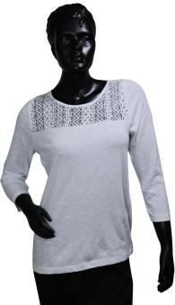 Starsy Solid Women's Round Neck White T-Shirt - TSHEGF9RXEDP72DK