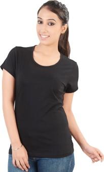 Neevov Black Solid Women's Round Neck T-Shirt