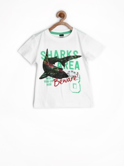 Sela Printed Boy's Round Neck White T-Shirt