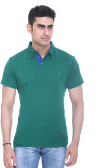 Colors And Blends Solid Men's Polo Neck Green T-Shirt