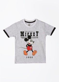 Mickey Mouse Printed Boy's Round Neck White, Black T-shirt
