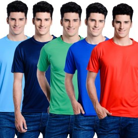 Superjoy Solid Men's Round Neck Light Blue, Dark Blue, Green, Blue, Red T-Shirt Pack Of 5
