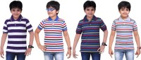 Dongli Striped Baby Boy's Polo Neck Grey, Dark Blue, Blue, Purple T-Shirt (Pack Of 4)