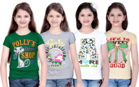 Sinimini Printed Girl's Round Neck Green, Silver, White, Beige T-Shirt Pack Of 4