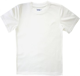 Cotton White_teens Solid Girl's Round Neck T-Shirt