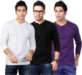 Top Notch Solid Men's Henley White, Black, Purple T-Shirt Pack Of 3
