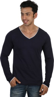 Rigo Navy Blue Slim Fit White Piping Solid Men's V-neck T-Shirt