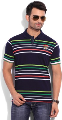 Duke Duke Striped Men's Polo T-Shirt (Blue)