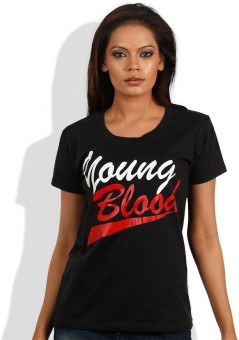 Maya Black Printed Women's Round Neck T-Shirt