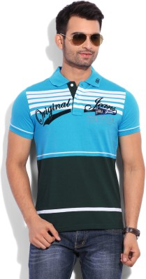 Duke Duke Striped Men's Polo T-Shirt (Turquoise)
