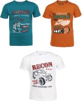 AJ Dezines Graphic Print Baby Boy's Round Neck Orange, White, Green T-Shirt (Pack Of 3) - TSHEKHBEJ6C2HFDP