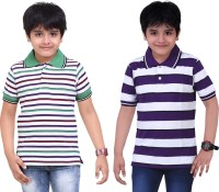 Dongli Striped Baby Boy's Polo Neck White, Purple T-Shirt (Pack Of 2)