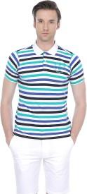 Basics Striped Men's Polo Neck Green T-Shirt