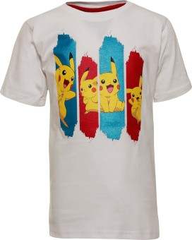 Pokemon Printed Boy's Round Neck White T-Shirt
