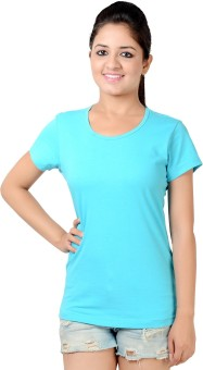 Neevov Blue Solid Women's Round Neck T-Shirt