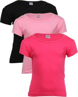 Gkidz Solid Girl's Round Neck T-Shirt (Pack Of 3)