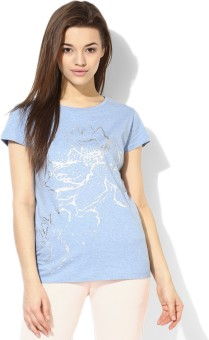 Tshirt Company Solid Women's Round Neck Blue T-Shirt