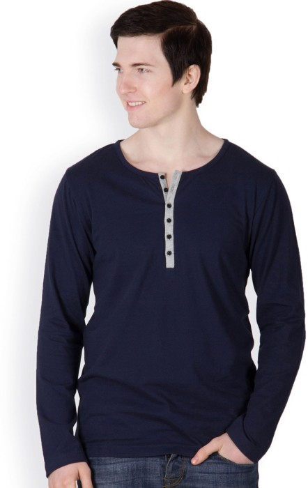 Rigo Navy Blue Solid Men's Henley T-Shirt