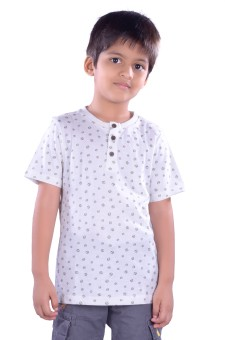 Colsa Polka Print Boy's Round Neck White T-Shirt