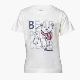 Tales & Stories Animal Print Boy's Round Neck White T-Shirt