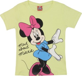 Disney Printed Girl's Round Neck Yellow T-Shirt