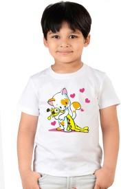 Neevov Printed Boy's Round Neck White T-Shirt